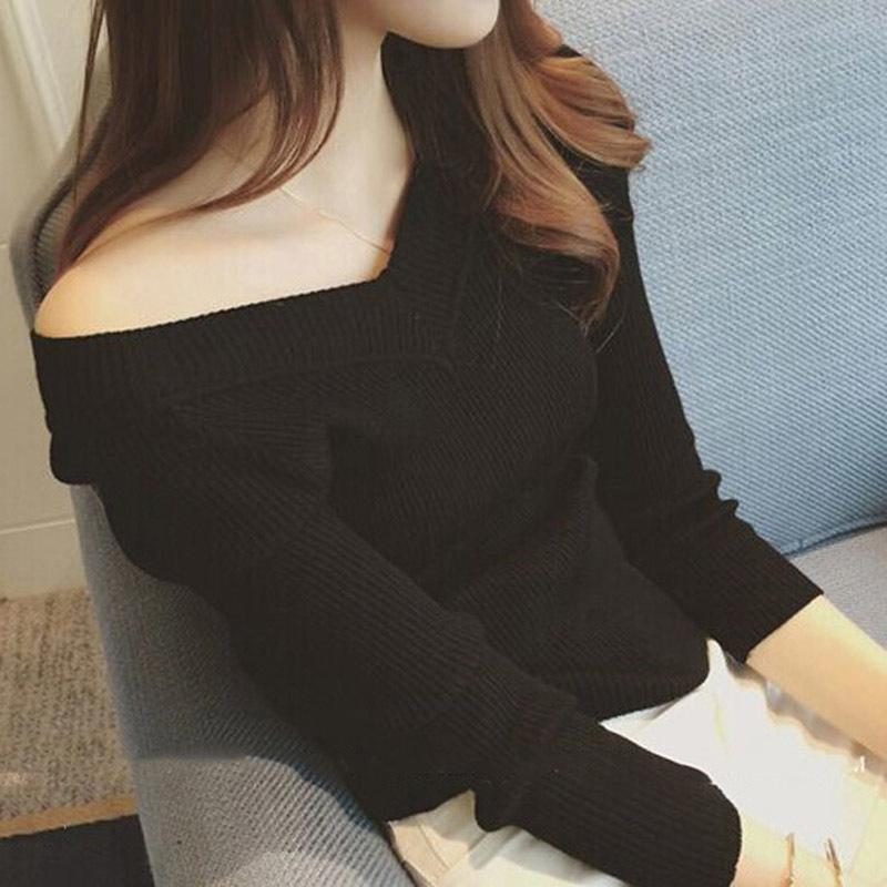 f812405865 2019 Women S V Neck Basic Rib Knitted Pullovers 2018 Autumn Sexy Off  Shoulder Ladies Sweaters Woman Korean High Elasticity Tops From Ycqz2