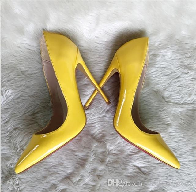 3717c542e3d03 New Patent Leather Woman Pumps Pointed Toe High Heel Shoes Women Yellow  Black High Heels Party Wedding Dress Ladies Shoes Womens