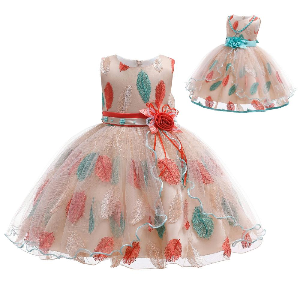 New Flower Girls Dress Kids Feather Pattern Lace Tulle Dress for Party Wedding Children Pageant Dress Up Clothes