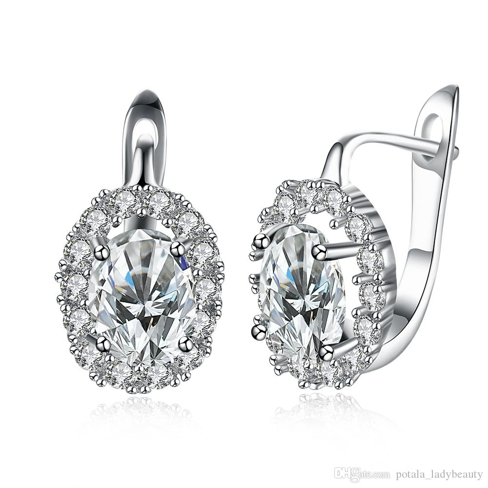 f692a6a18 2019 Romantic Earrings Mosaic Zircon Round Pattern Clip On And Screw Back  Earring Accessories Simple Elegant Thanksgiving Day Prom Gift POTALA152  From ...