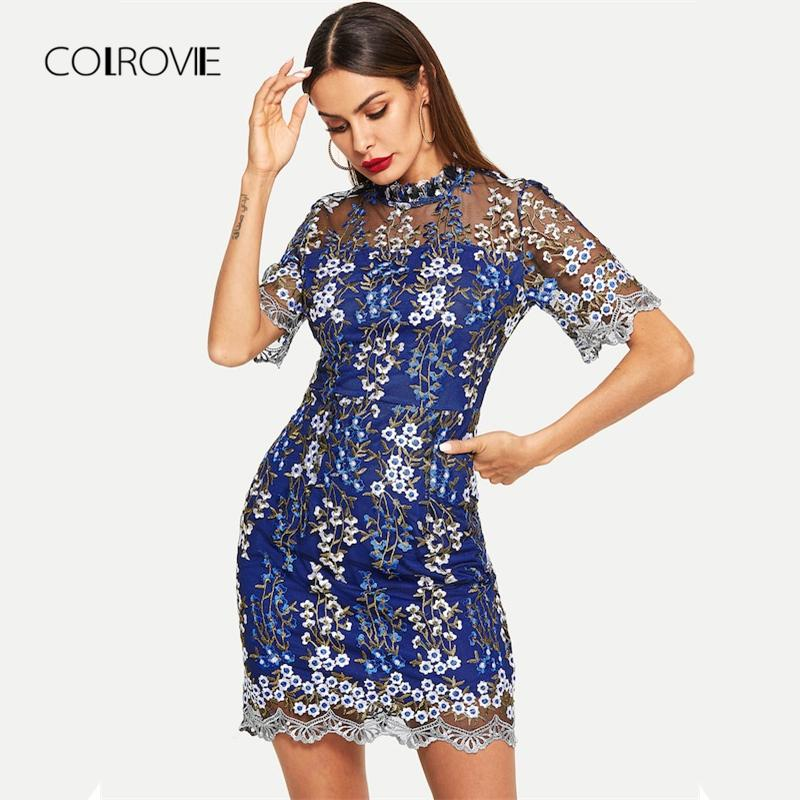 189fb244fed COLROVIE Blue Mesh Floral Print Short Sleeve Chinese Party Dress ...