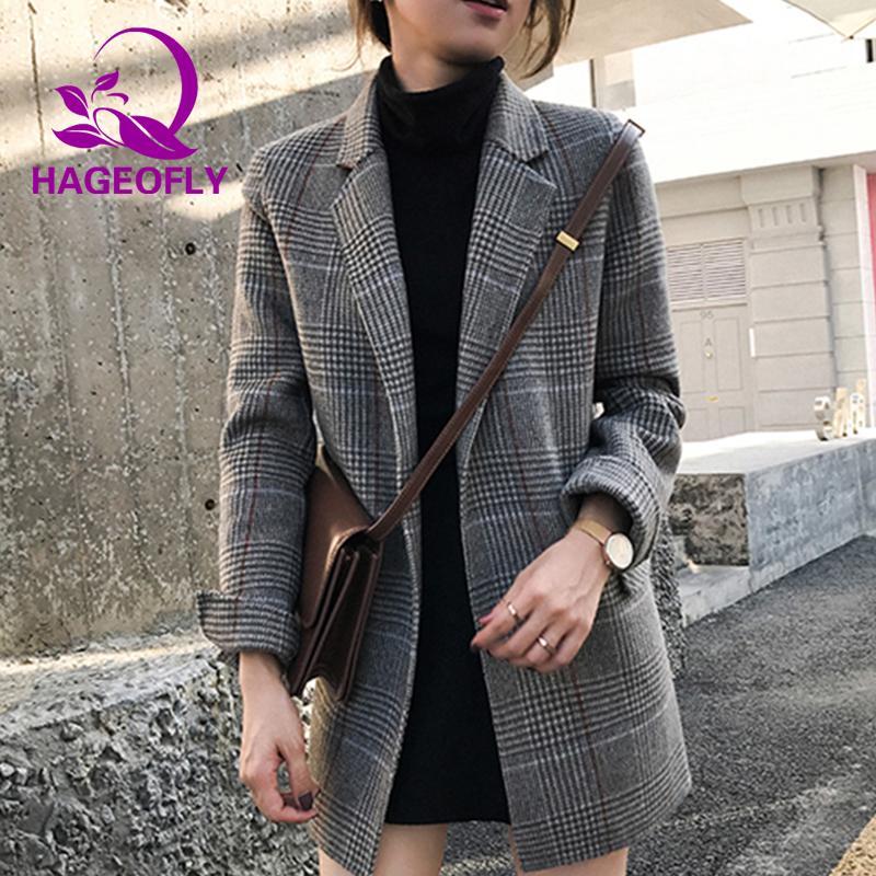 Compre 2019 Nuevo Traje A Cuadros Gris Blazer Mujeres Coreano Elegante  Retro Suelta Larga De Lana Delgada Oficina Señora Moda Causal Abrigo  Chaqueta De ... b413d2ce137d