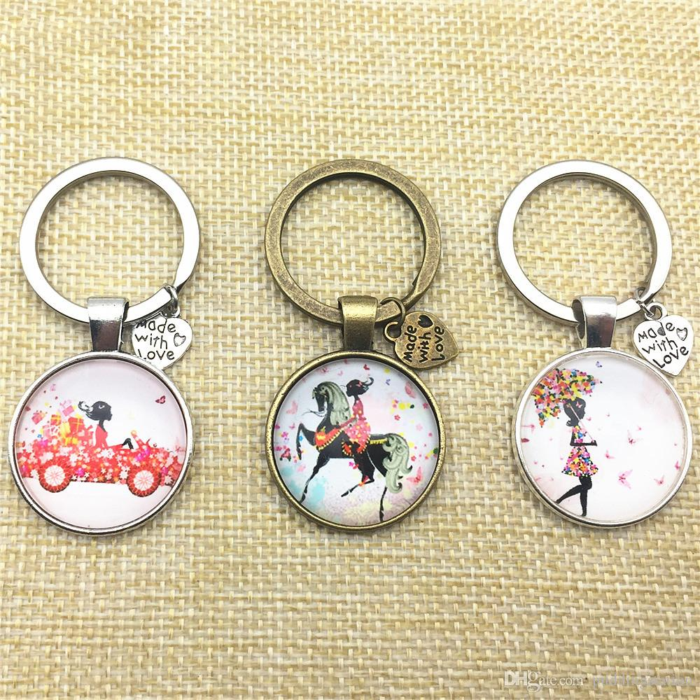 Trendy Flower Girl Car Keychain Horse Girl Key Chain Ring Pendant Glass Cabochon Dome Jewelry Silver Alloy Gift Keyriing