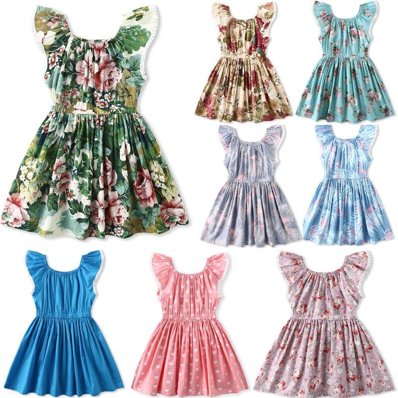 63b3b5321208a Exquisite Girl Kids Clothing New Summer Girl Full Flower Lemon Design Dress  high quality 100%cotton baby Flying Sleeveless Princess dress