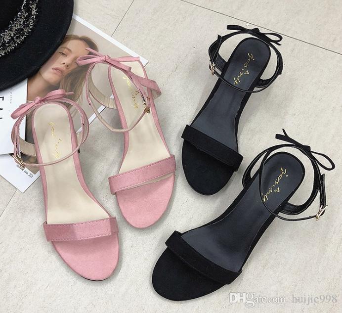verano de 2019 Comprar mujer salvaje negro sandalias con hebilla 4R3cL5AjqS