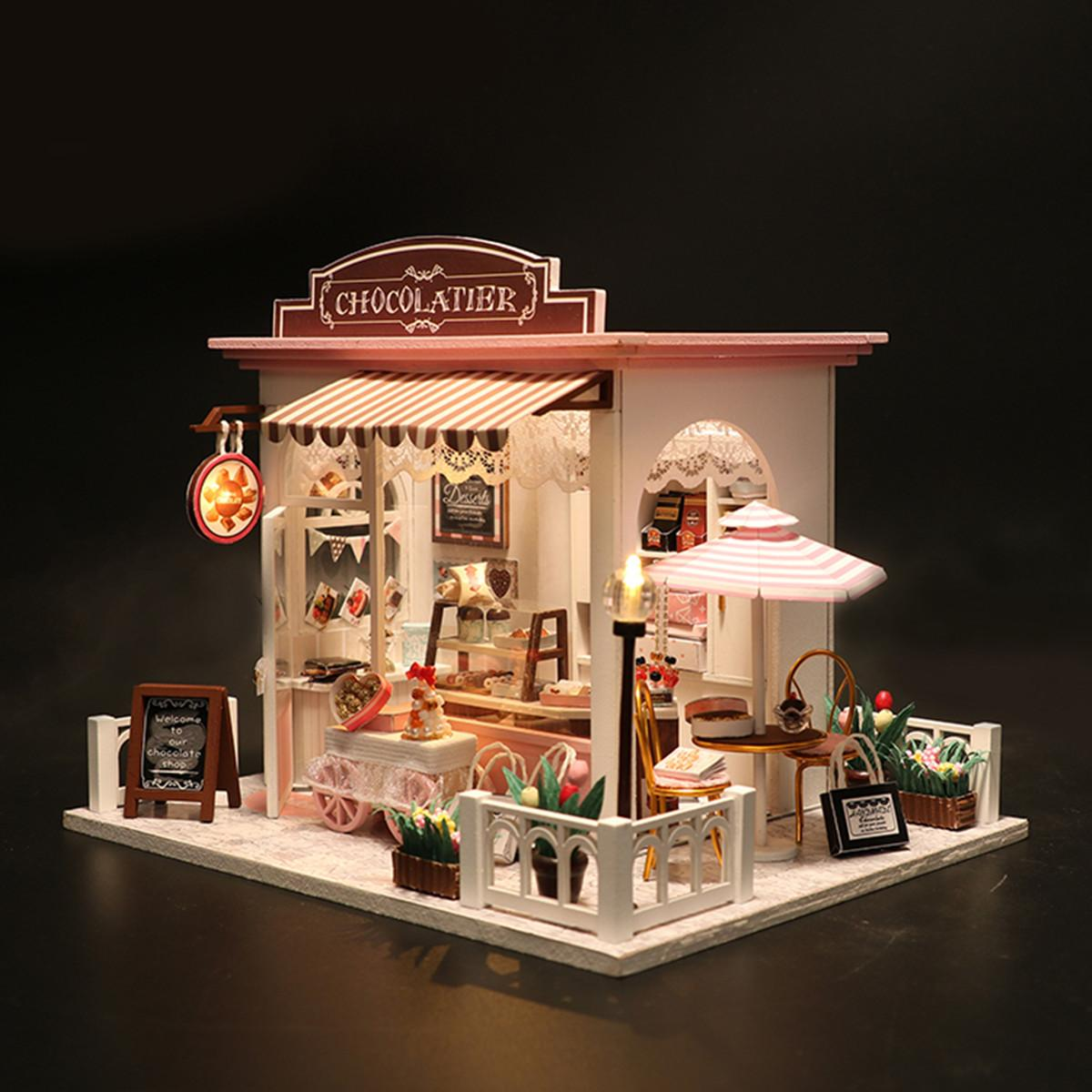 Diy Doll House Kit Set Miniature Handmade House Cake Shop Kids Craft
