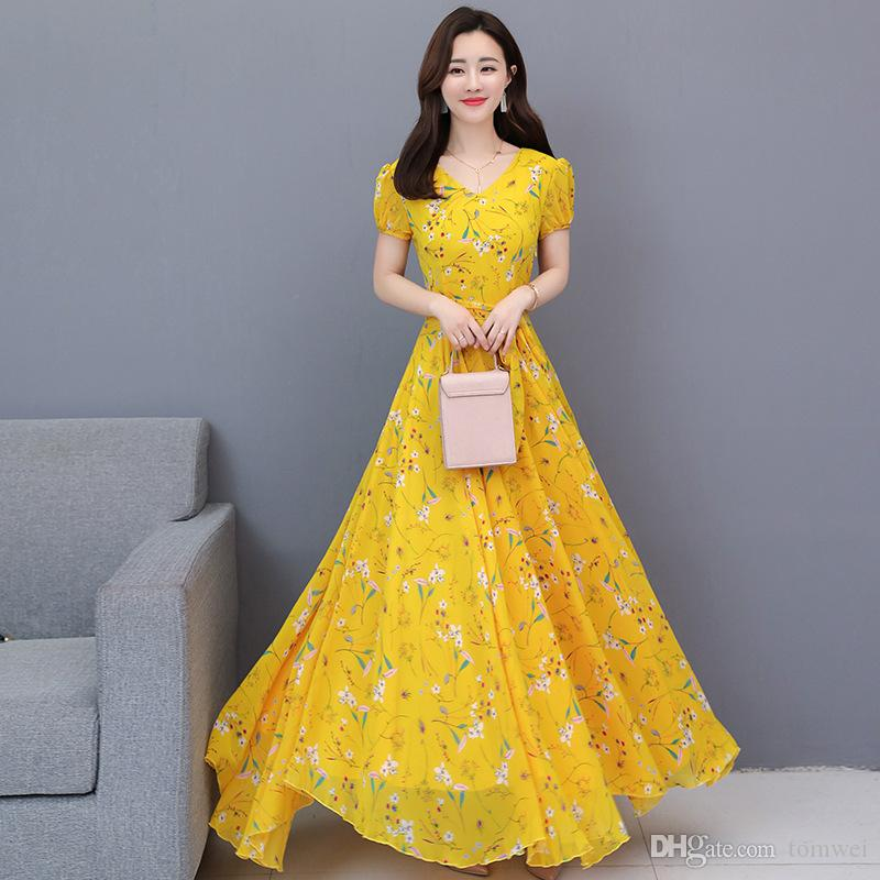Fashion Women Casual Dress Plus Size Summer Long Dress Chiffon Maxi Dresses  Knee Length 2019 New Fashion Yellow Pink Blue