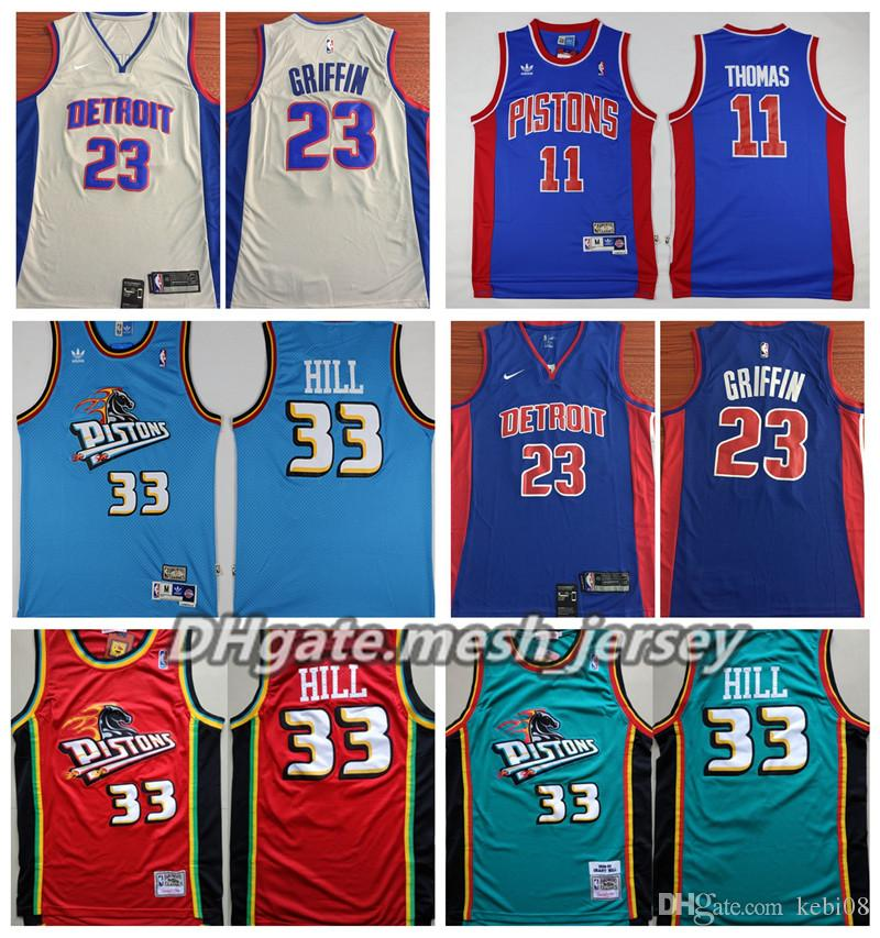 new style 86e4c 5e11c Retro Detroit 2019 Pistons Basketball Jersey 0 Andre Drummond 33 Grant Hill  23 Blake Griffin 11 Thomas Stitched Basketball Jerseys