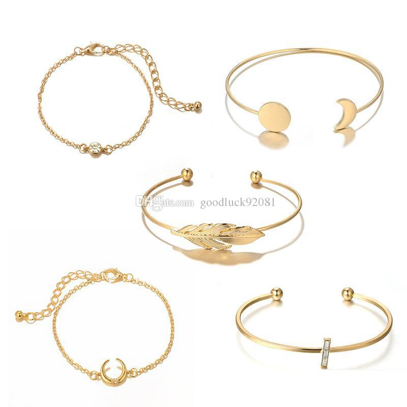 New Vintage Moon Round Disc Leaf Diamond Cross Adjustable Open Bracelet 5 Piece Set for Women Girl Jewelry