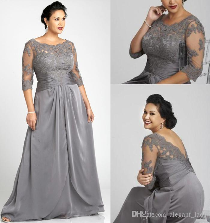 Vintage Plus Size Evening Dresses Bateau Neck Gray Chiffon 3/4 Long Sleeves  with Appliques Zipper Back Floor-Length 2019 Formal Party Gowns