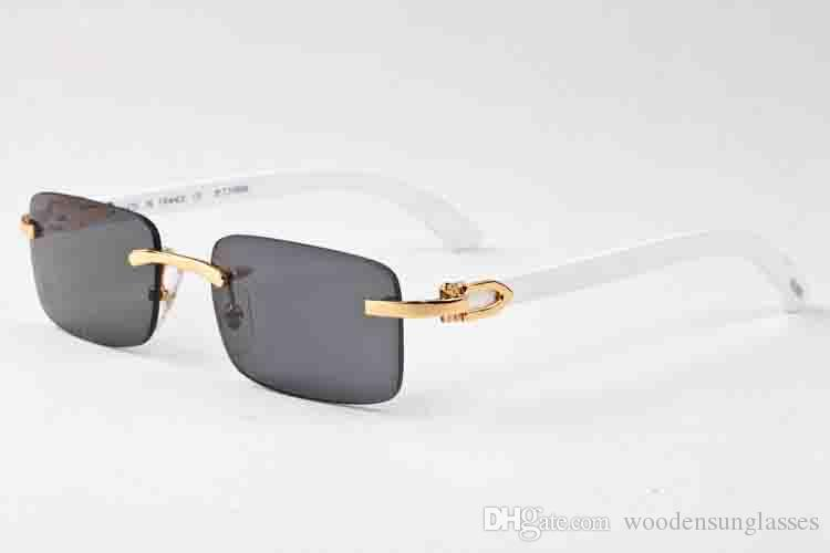 c7adb7362c Fashion Blue Buffalo Horn Glasses Mens Women Sunglasses For Brand Designer  Rimless Black Clear Lens Bamboo And WoodFrame Box Case Lunettes Fashion ...