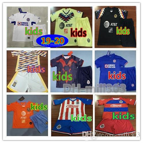 2019 2020 LIGA MX Club America Cruz Azul kids Kits Soccer Jersey 19 20 NAUL Tigrs UNAM Chivas Cougar Mexico Kids football shirt uniforms