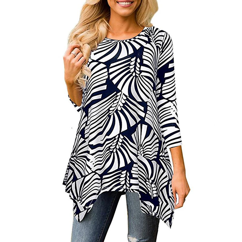 bfb423623679 Acquista Estate 2019 Moda Stampata T Shirt Donna Irregolare Manica Lunga O  Collo Camicia Taglie Forti Abbigliamento Donna Streetwear Top Estivo A   24.46 Dal ...