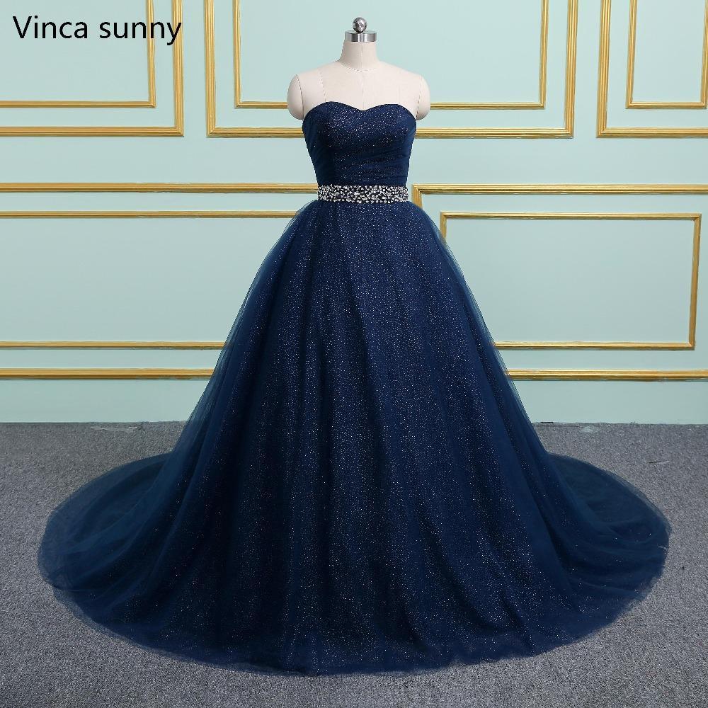 New Design Ball Gown Navy Blue Long Prom Dresses 2019 Sweetheart Shining  Tulle Vestidos De Festa Party Hot Sale Prom Dress High Low Prom Dresses  Junior Prom ... 6eda5b9133de