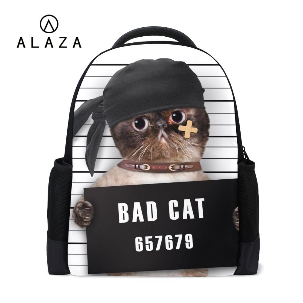 ALAZA Hot Sale Funny Cat One Side Printing Large Space Bookbag Laptop  Backpack Women School Travel Shoulder Bag Best Gift 2018 Mens Backpacks  Swiss Army ... 726462708a05e