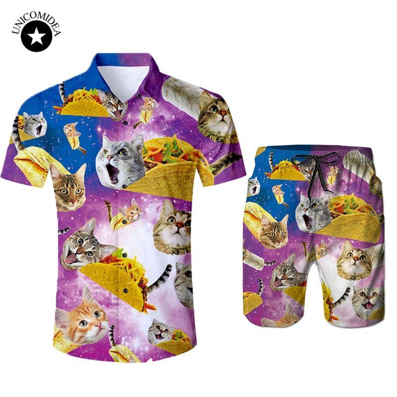 721f587905ba 3D Galaxy Space Cat Print Men Hawaiian Shirt Shorts Casual Set Men's 2  Pieces Set Beach Shorts Tuxedo Shirt Plus Size