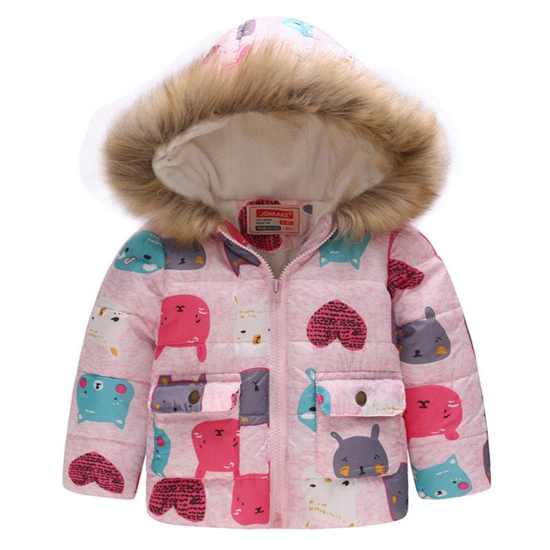 451a918e0 Baby Girls Coat with Fur Hooded 2019 Kids Winter Coats for Girls ...