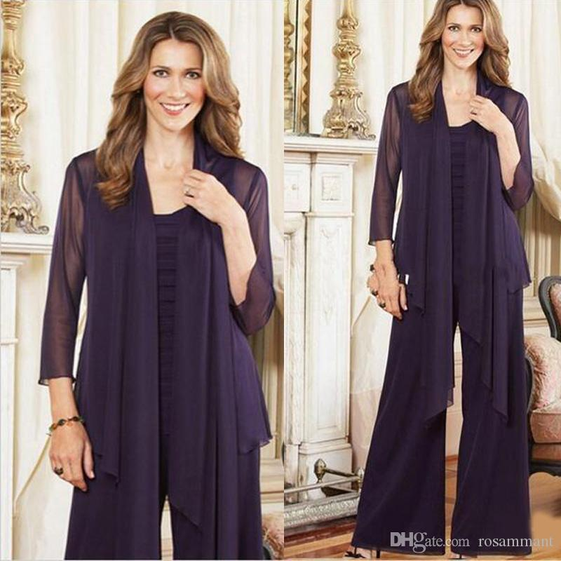 2019 Elegant Purple Plus Size Mother Of The Bride Pants Suits With Jacket Womens Chiffon Long Sleeve Mother Formal Dress For Wedding