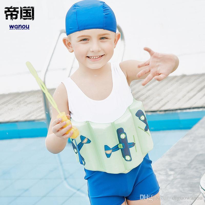 17ef33a9e8 Elastic Children's Swimwear Boys One-Piece Suits Summer Buoyant Vest ...
