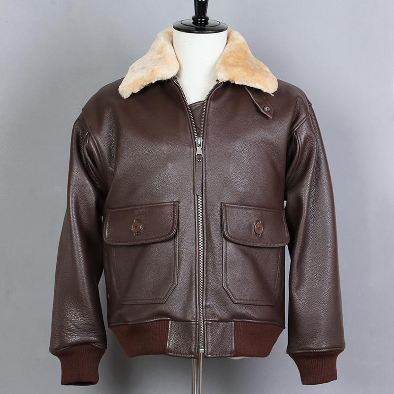 c1dde8204d6 2019 Fur Collar Flight Leather Jackets Men Cow Skin Motorcycle Genuine  Leather Jacket Men Winter Coat Male From Maoku, $276.82 | DHgate.Com