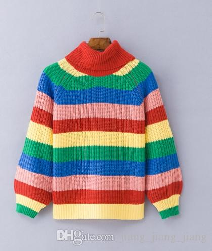 343cc7032a848 2019 Rainbow Sweaters Turtleneck Hit Colors Striped Pullovers Women Knitted  Shirts Lantern Sleeved Oversized Chic Pullover Tops 2018 From  Jiang jiang jiang