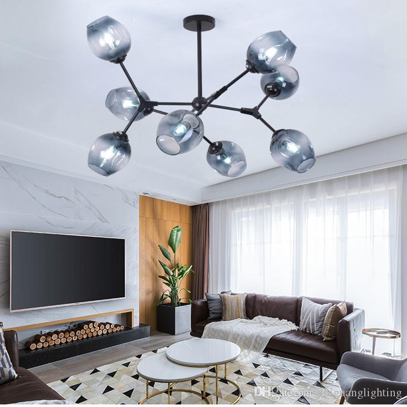Molecular chandelier Nordic simple modern living room lamp dining room  bedroom creative personality led lamps glass chandelier