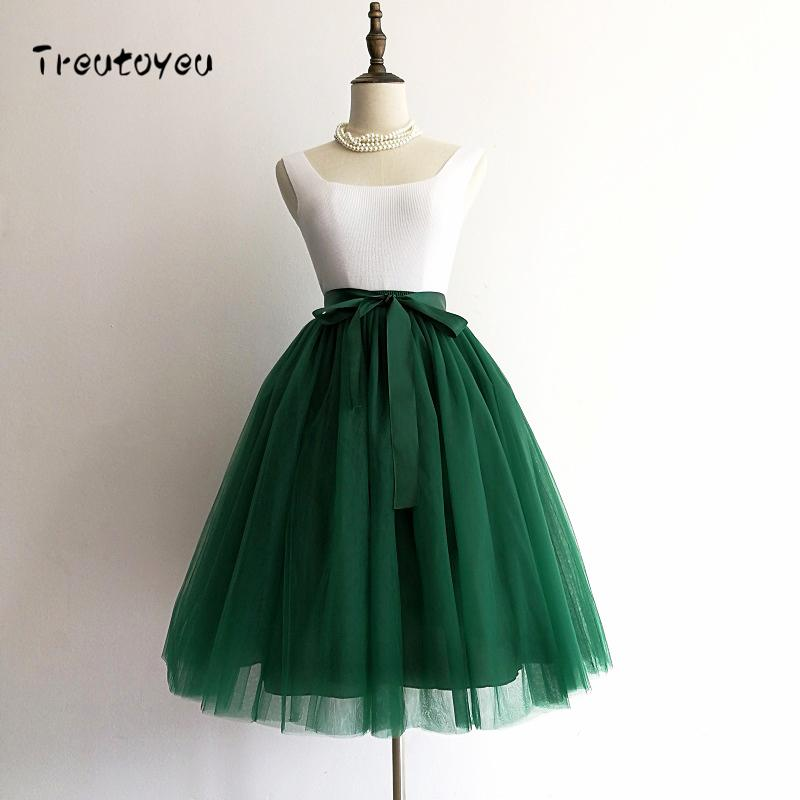 62c4a4a34 5 Layers 65cm Sexy Midi Tulle Skirt Streetwear Pleated Skirts Womens Short  Tutu Femme 2018 Winter Gothic Jupe Falda Tul Plisada S416