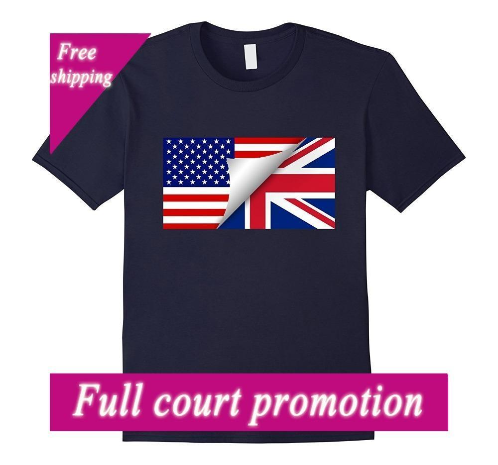 fc535ff4 2018 New Brand Clothing British American Flag T Shirt Half British Half  American Tee Men Funny Casual Streetwear Best Funny T Shirts Really Cool T  Shirts ...