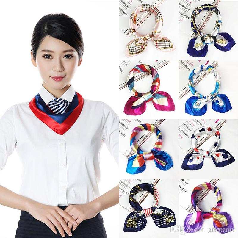 142 styles Fashion Printing Small Scarf Stylish Girl Women Square Korean Print Hotel Waiter Businessmen Mimic Silk Scarf Gift