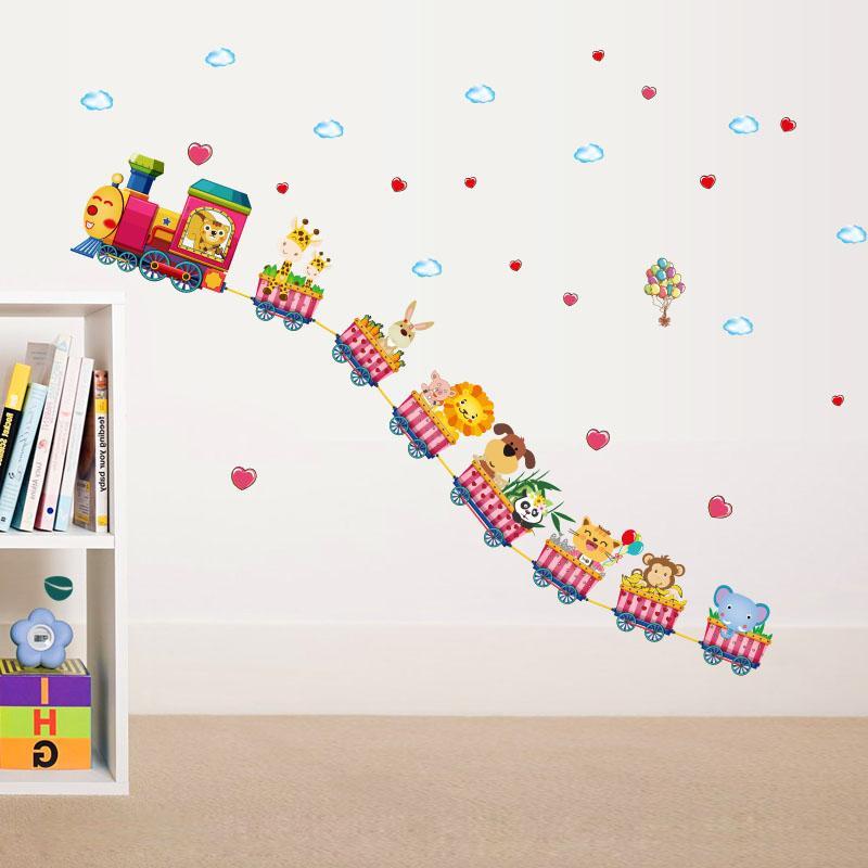 [ZOOYOO] dos desenhos animados trem animais adesivos de parede para quartos de crianças berçário do bebê crianças quarto decalques de arte decoração de casa