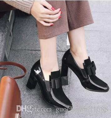 new style d50a5 a7bf0 2019 New 100% Red Bottom sole high heels pumps square toe genuine leather  shoes women ladies black Sexy chaussure femme 1760 #9015