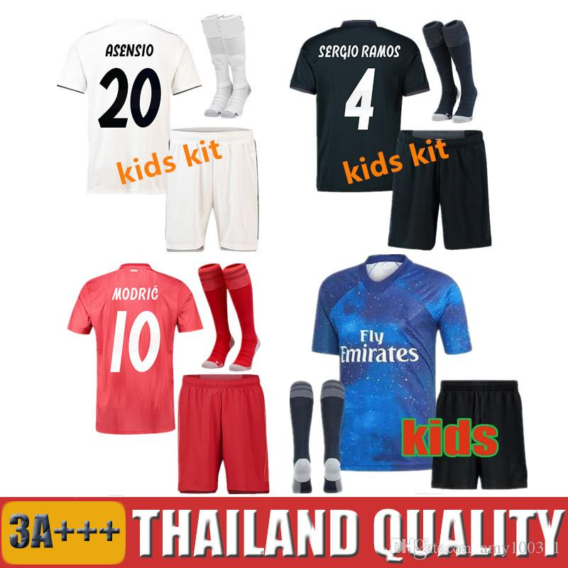 2019 Real Madrid Kids Kit Soccer Jerseys 2018 19 EA SPORTS Home Away Red Boy  Child Mariano ISCO ASENSIO BALE KROOS Football Uniforms UK 2019 From  Amy1003 1 3837993b7
