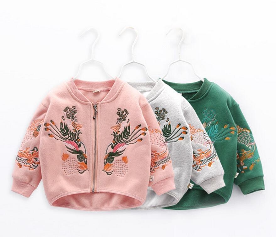 d599f799 Baby Girls Jacket 2019 Spring Autumn Jacket For Girls Coat Kids Flower  Embroidery Outerwear Children Clothes Infant Coats Kids Jackets For Girls  Children ...