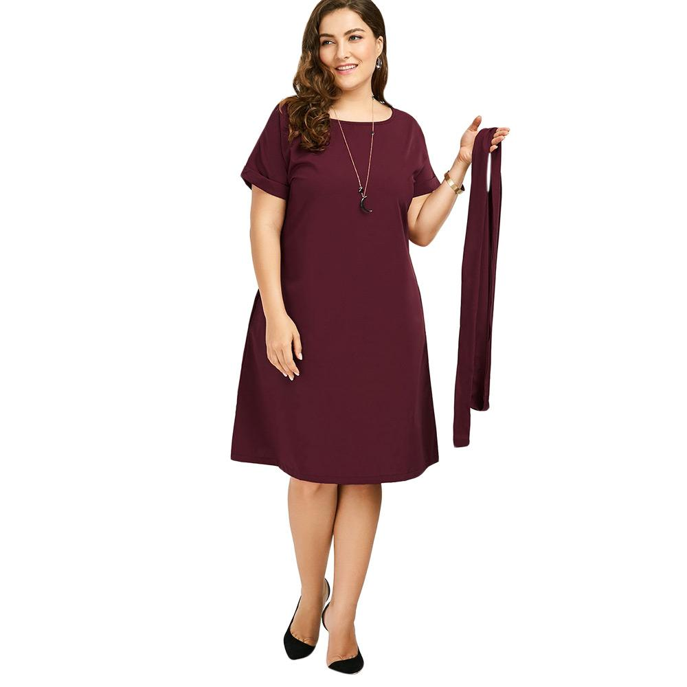 Kenancy New Plus Size Belted Knee Length Dress With Pockets Women ...