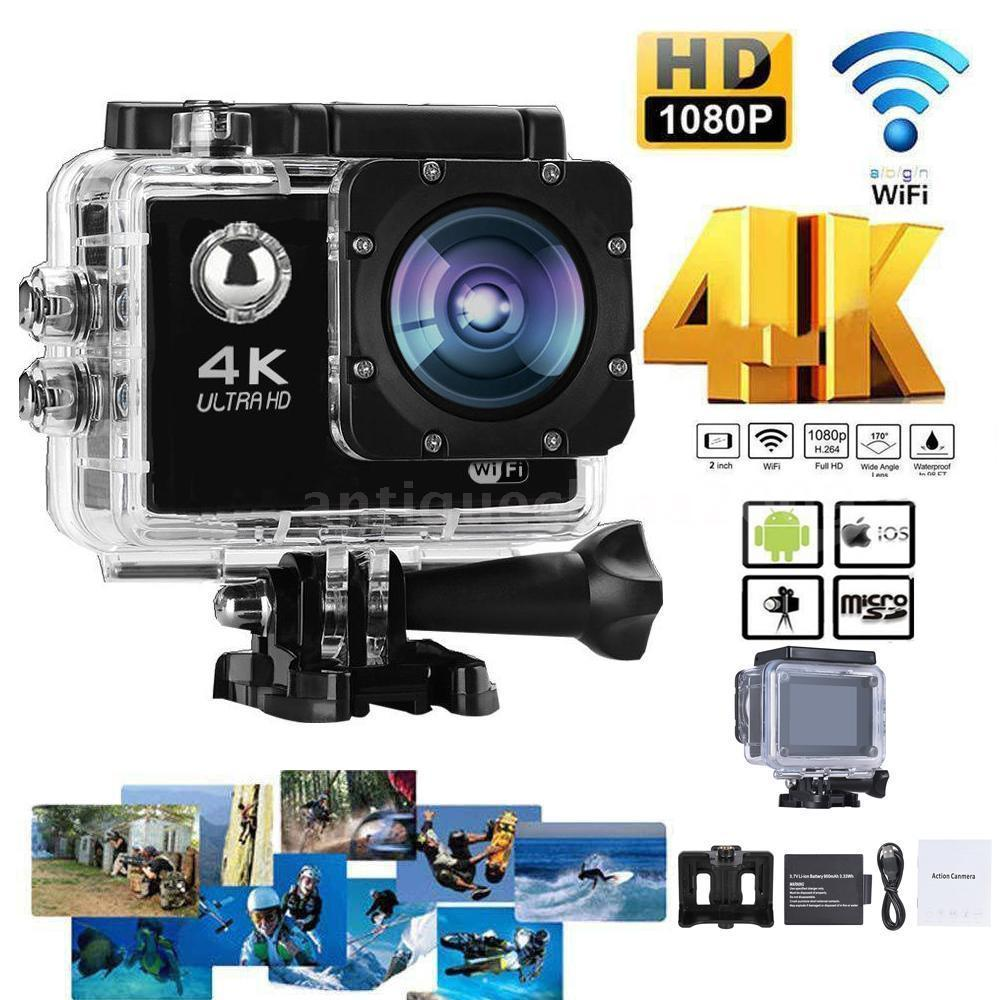 Camcorders Mini Camcorders 4K 30fps 16MP WiFi Action Sports Camera 1080P 60fps Full HD 4X Digital Zoom Diving 40m 170 Wide Angle