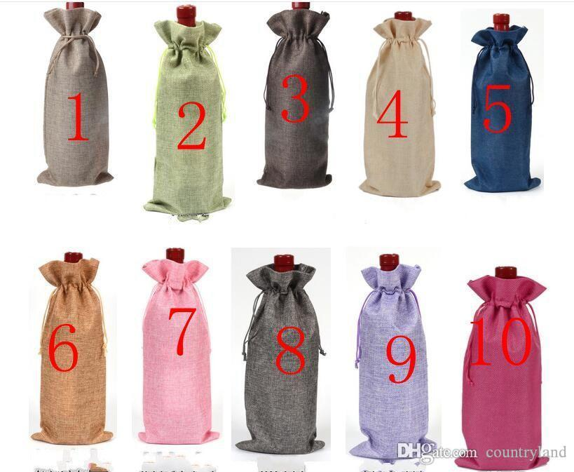200pcs Jute Wine Bottle Gift Bags Champagne Wine Blind Covers Packaging Gift Pouch burlap Wedding Party Decorate WA2047 20180920#