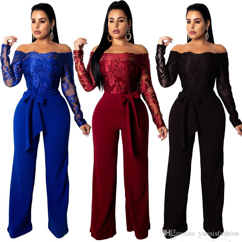 bc80aa88865 2019 YSMARKET Blue Wine Red Black Lace Patchwork Long Pants Elegant Jumpsuit  Women Sexy Slash Neck Long Sleeve Jumpsuits Rompers E2067 From  Yannisfashion