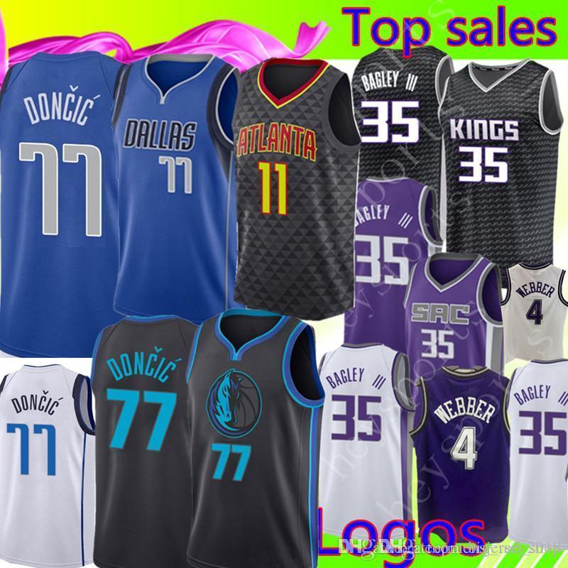 online retailer 443f6 9d59d Luka 77 Doncic Dallas Doncic Mavericks Jersey Marvin 35 Bagley III Fox 5  Williams 55 Atlanta # Hawks Trae 11 Young Jerseys