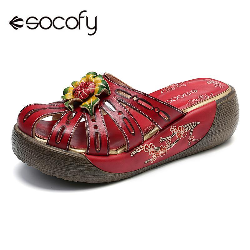 7cf138f2b SOCOFY Retro Hollow Genuine Leather Hand Painted Floral Wood Grain ...