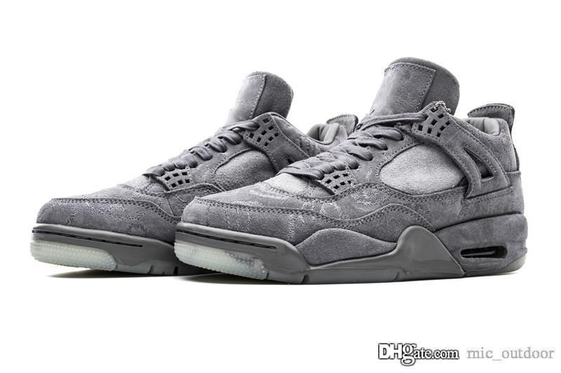 reputable site 4f67a 8ffec Top Original 4 Kaws x Cool Grey Suede 4s 2017 Air IV Suede Men Basketball  Shoes Authentic Sports Sneakers With Box 930155-003 001