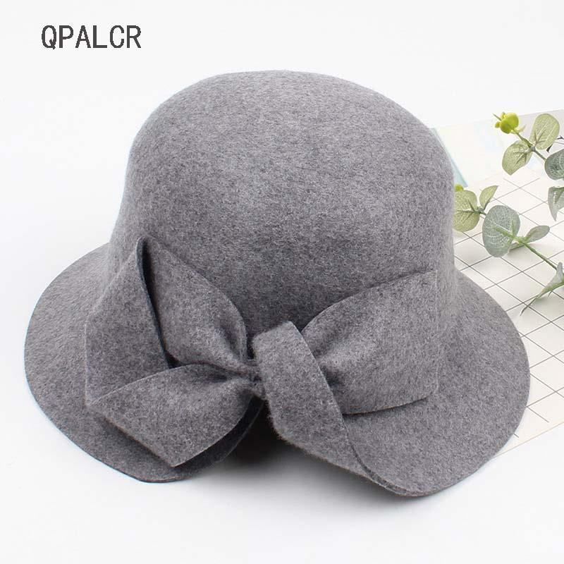 2019 QPALCR Winter 100% Wool Felt Hats For Women Vintage Bucket Cap Lady  Formal Brim Bowknot Wool Fedora Hat Black Hat From Naughtie 700650756a45