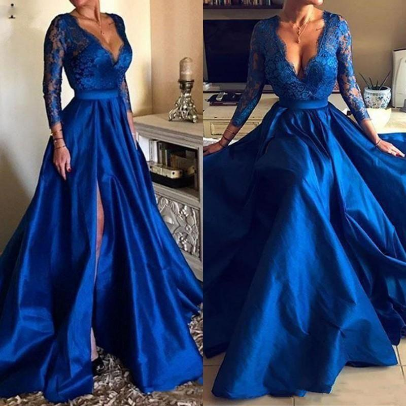 2019 New Sexy Royal Blue Prom Dresses A-Line Deep V-Neck Lace Appliques Side Split Long Sleeves Sweep Train Plus Size Prom Evening Gowns