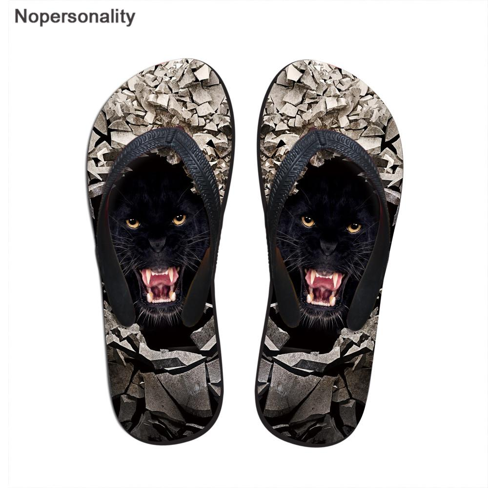 Nopersonality Men Flipflops Wolf Tiger Print Male Slippers Casual Brand Slip-on Shoe Summer Flip Flops for Adult erkek ayakkabi