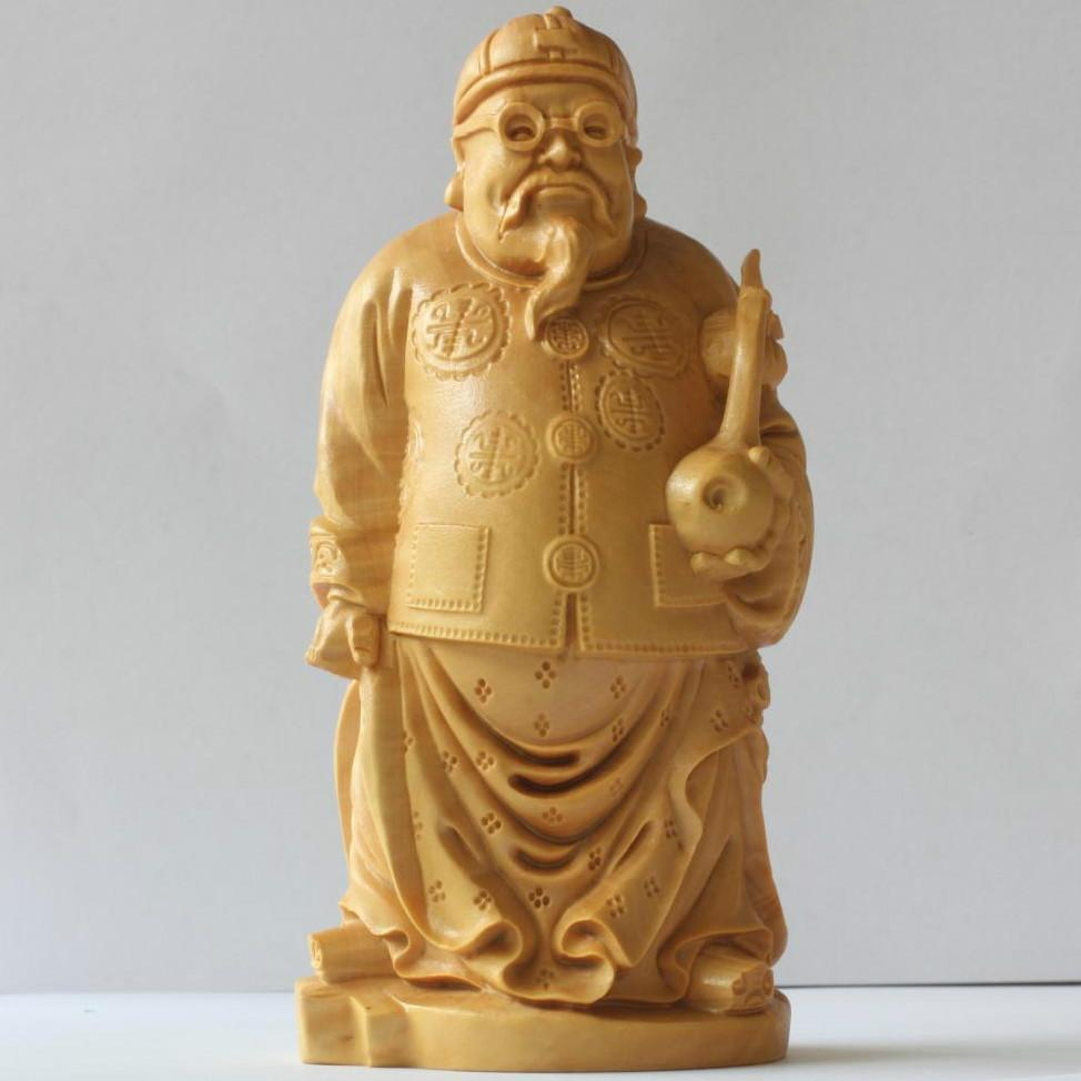 1pcFolk Art China traditional People Landlord Carved Yellow Boxwood Room wood carved Home Decoration & Collectible free ship