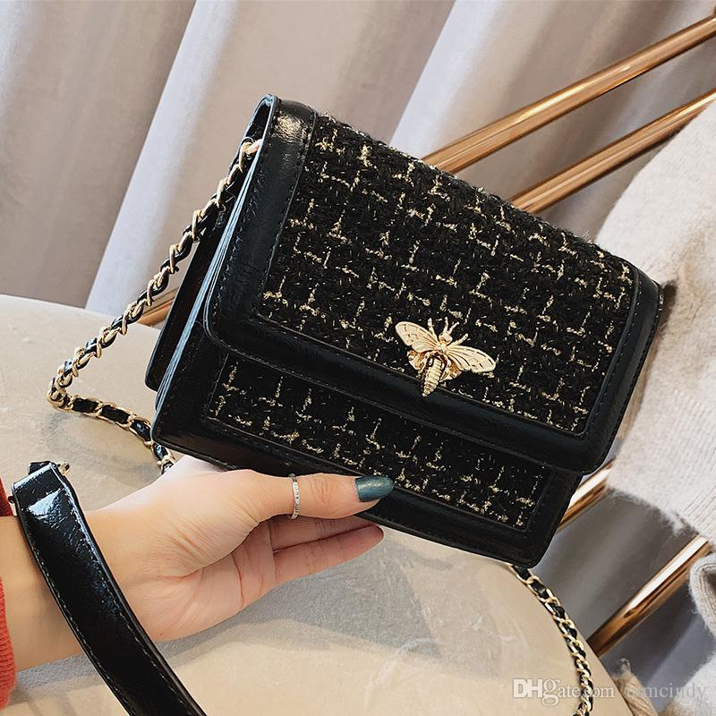 Shoulder Bag Bee Design Shoulder Bags Women Black Tweed Designer ... 2f453c3698af3