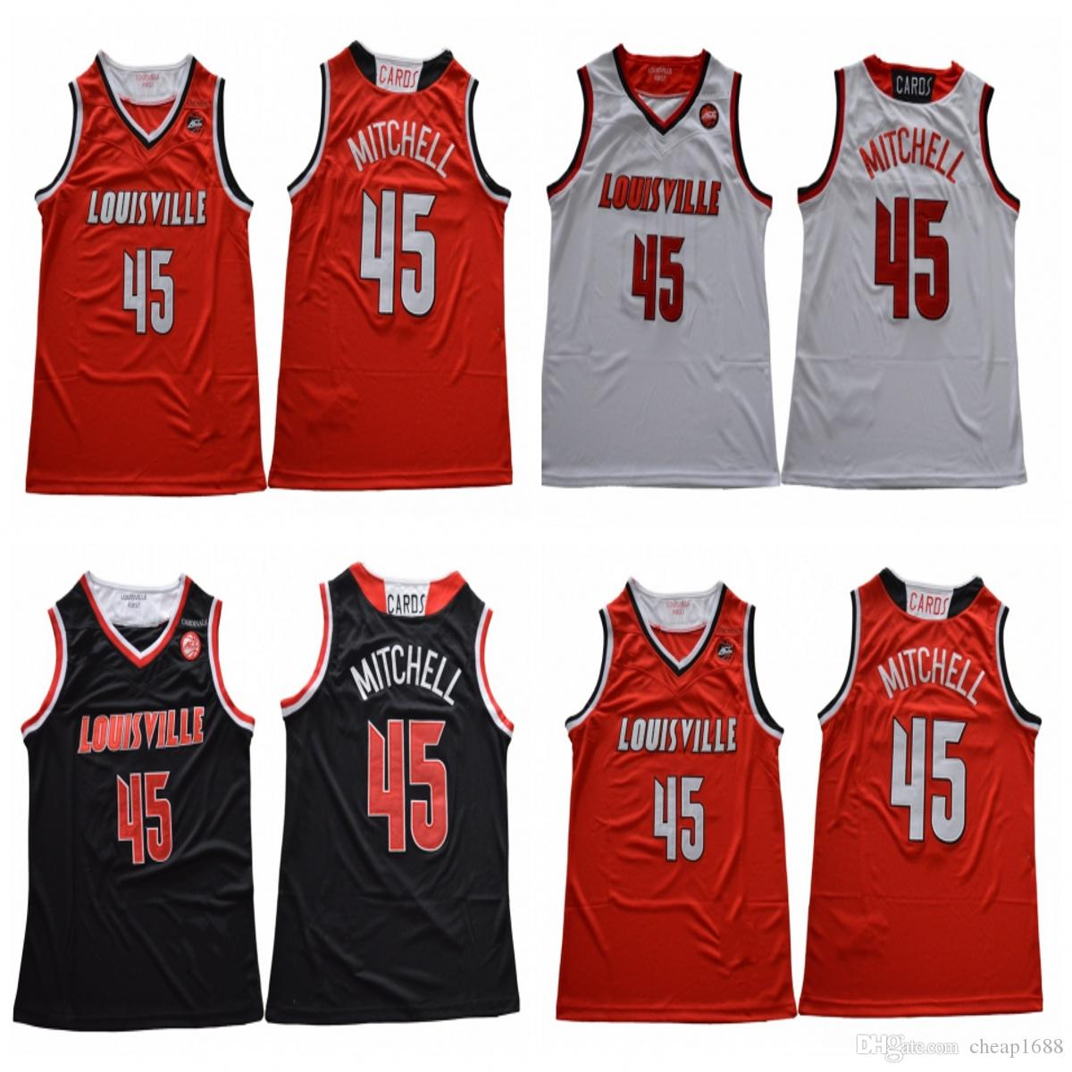 eed33d1b77b 2019 NCAA Louisville Cardinals 45 Donovan HOT SALE Mitchell Best Quality Stitched  College Basketball White Red Black Jersey From Cheap1688