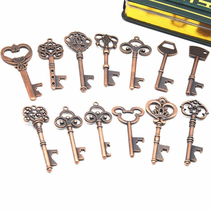 Zinc Alloy Key Opener 13 Styles Key Shaped Classic Pendant Bronze Beer Bottle Openers 240pcs OOA7029-1