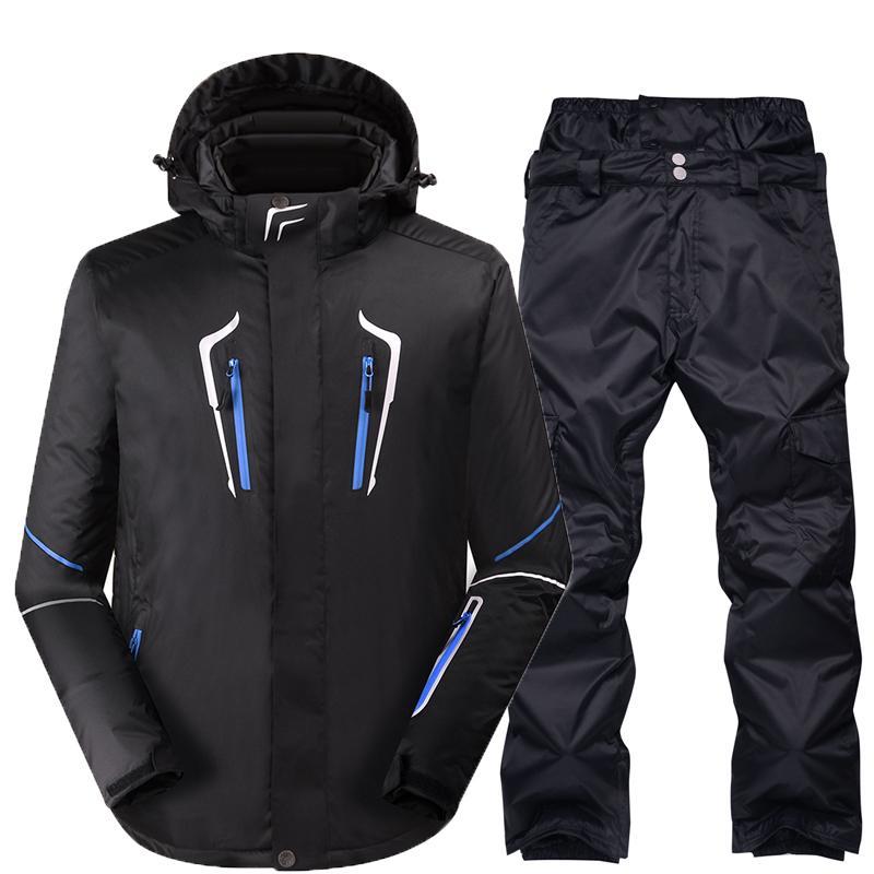 bceb942425502 Compre Conjuntos De Snowboard Hombres Chaquetas + Pantalones Muy Cálido A  Prueba De Viento Impermeable Color Puro Traje De Esquí De Nieve Ropa De  Invierno ...