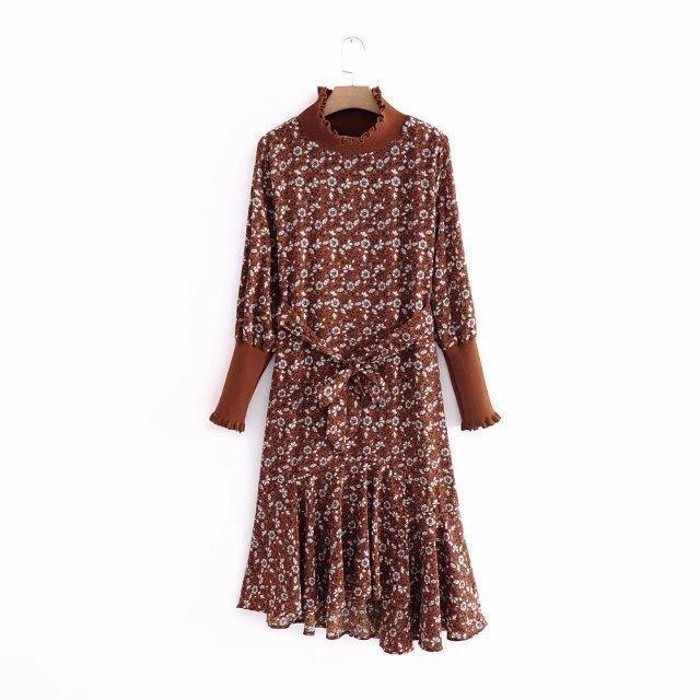 43c2c7d7ed8b Nice Spring Autumn Women Dress Floral Print Knitting Ruffles Neck Elastic Lace  Up Casual Vintage Waist Long Dresses Coffee Cocktail And Party Dresses Long  ...