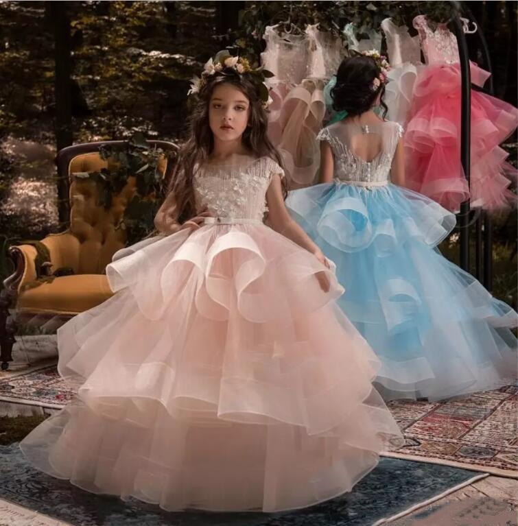 28bfd5643440 Cap Sleeve Lovely Tiered Girl Pageant Dresses 2019 Puffy Ball Gowns ...